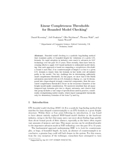 Linear Completeness Thresholds for Bounded Model Check