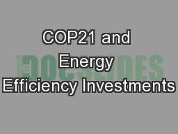 COP21 and Energy Efficiency Investments