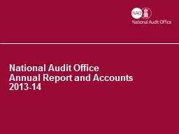 National Audit Office Annual Report and Accounts
