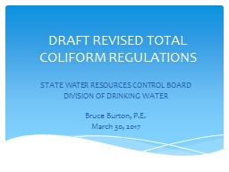 DRAFT REVISED TOTAL COLIFORM REGULATIONS