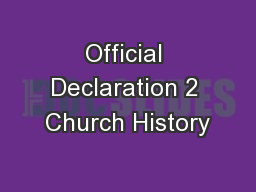 Official Declaration 2 Church History