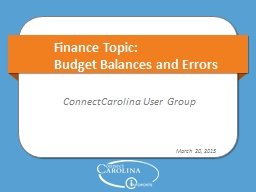 Finance Topic: Budget Balances and Errors
