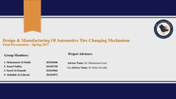D esign  &  Manufacturing Of Automotive Tire Changing Mechanism