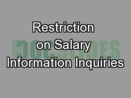 Restriction on Salary Information Inquiries