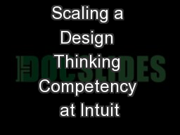 Scaling a Design Thinking Competency at Intuit