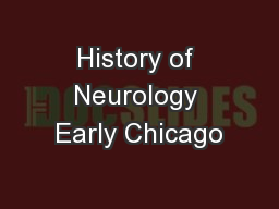 History of Neurology Early Chicago