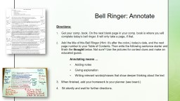 Bell Ringer: Annotate Directions: