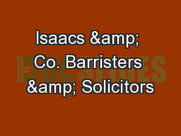 Isaacs & Co. Barristers & Solicitors