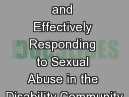Recognizing and Effectively Responding to Sexual Abuse in the Disability Community
