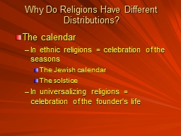 Why Do Religions Have Different Distributions?