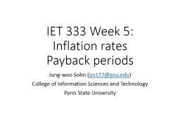 IET 333 Week 5:  Inflation rates