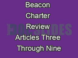 Beacon Charter Review Articles Three Through Nine
