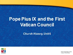 Pope Pius IX and the First Vatican Council