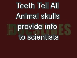 Teeth Tell All Animal skulls provide info to scientists
