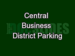 Central Business District Parking
