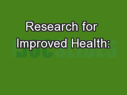 Research for Improved Health: