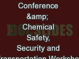 2017 � WV SERC Conference &  Chemical Safety, Security and Transportation Workshop