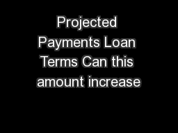 Projected Payments Loan Terms Can this amount increase
