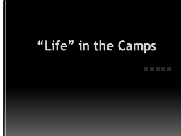 """Life"" in the Camps Camps were originally intended to imprison the people the Nazis most despis"