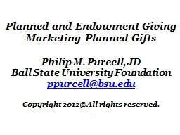 Planned and Endowment Giving