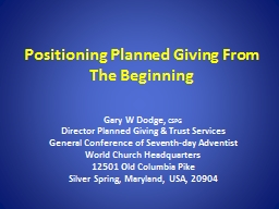 Positioning Planned Giving From The