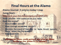 Final Hours at the Alamo