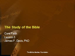 The Study of the Bible Core Faith