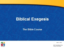 Biblical Exegesis The  Bible Course