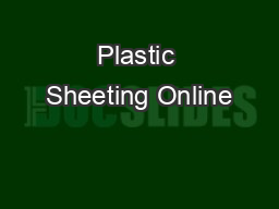 Plastic Sheeting Online
