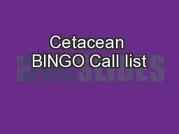 Cetacean BINGO Call list