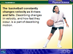 The basketball constantly changes velocity as it rises and falls.