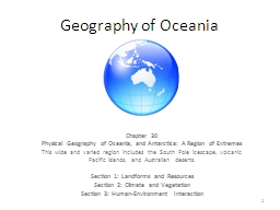 Geography of Oceania Chapter 30
