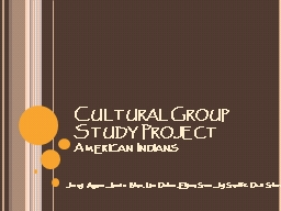 Cultural Group Study Project