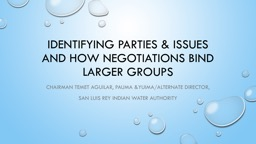 Identifying Parties & Issues and How Negotiations bind larger groups