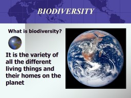 BIODIVERSITY What is biodiversity?
