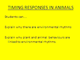 TIMING RESPONSES IN ANIMALS