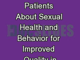 Asking Patients About Sexual Health and Behavior for Improved Quality in