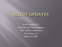 ALDOT Updates Scott George, P. E.