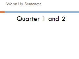Warm Up Sentences Quarter