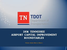 2016 TENNESSEE  AIRPORT CAPITAL IMPROVEMENT ROUNDTABLES