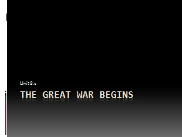 The Great war begins Unit 8.1