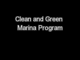 Clean and Green Marina Program