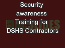 Security awareness Training for DSHS Contractors
