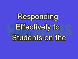 Responding Effectively to Students on the