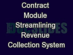 Earning Contract Module Streamlining Revenue Collection System