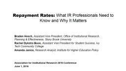 Repayment Rates:  What IR Professionals Need to Know and Why It Matters