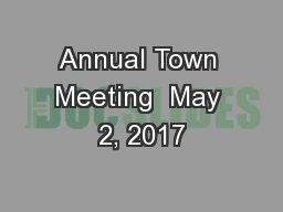 Annual Town Meeting  May 2, 2017