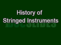 History of Stringed Instruments