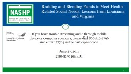 Braiding and Blending Funds to Meet Health-Related Social Needs: Lessons from Louisiana and Virgini