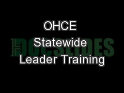 OHCE Statewide Leader Training